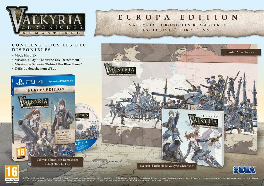 Valkyria Chronicles Remastered Europa Edition contenu